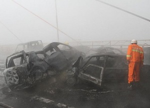 Scene of a fog-related nine car pile up