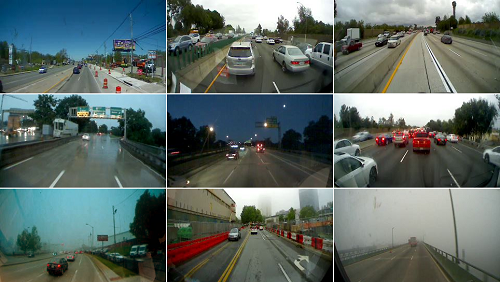 On-vehicle camera images
