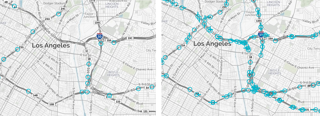 Coverage maps with and without on-vehicle cameras